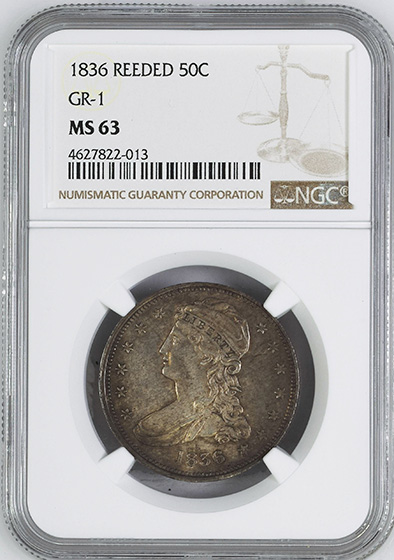 Picture of 1836 CAPPED BUST 50C, REEDED EDGE MS63