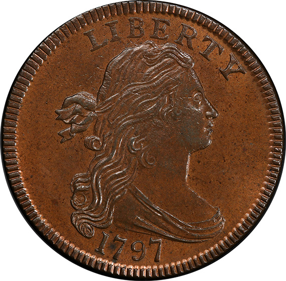 Picture of 1797 DRAPED BUST 1C, REV OF 1797, STEMS MS65 Brown