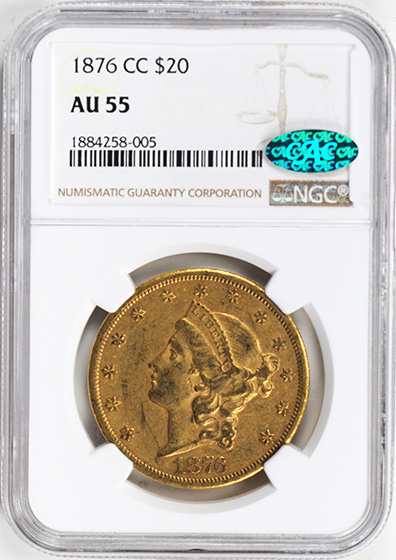 Picture of 1876-CC LIBERTY HEAD $20 AU55