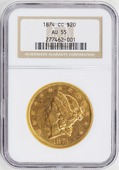 Picture of 1874-CC LIBERTY HEAD $20 MS55