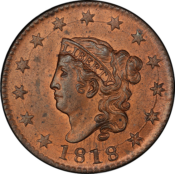 Picture of 1818 CORONET HEAD 1C MS64 Red