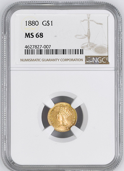 Picture of 1880 GOLD G$1, TYPE 3 MS68