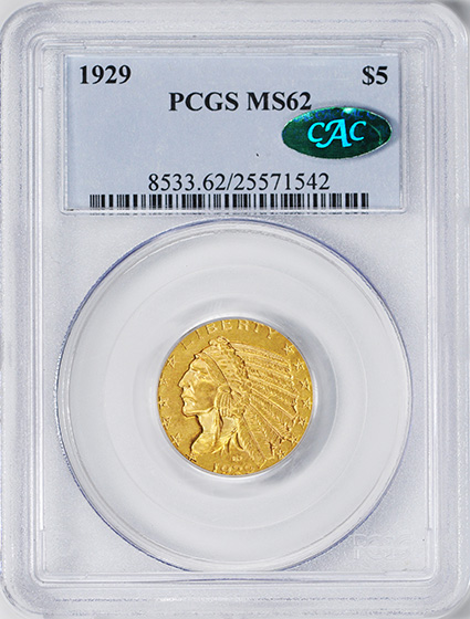 Picture of 1929 INDIAN HEAD $5 MS62