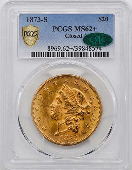 Picture of 1873-S LIBERTY HEAD $20, CLOSED 3 MS62+