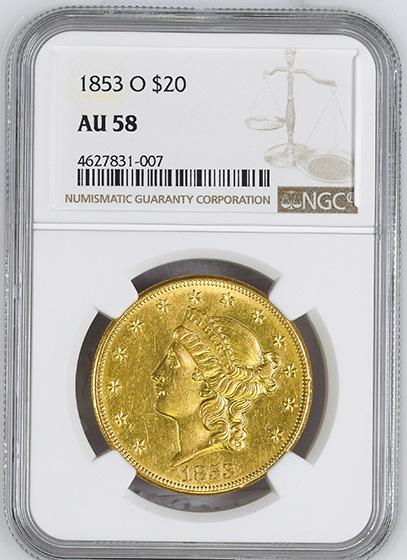 Picture of 1853-O LIBERTY HEAD $20 AU58
