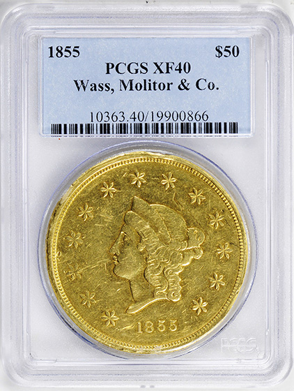 Picture of 1855 TERRITORIAL - CALIFORNIA GOLD $50, WASS, MOLITOR & CO. XF40