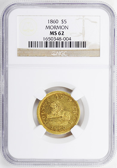 Picture of 1860 MORMON $5 MS62
