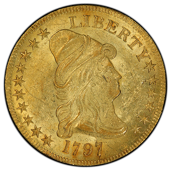 Picture of 1797 DRAPED BUST $10, LARGE EAGLE AU58