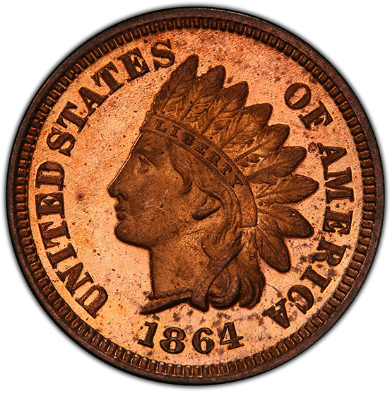 Picture of 1864 INDIAN BRONZE 1C, L ON RIBBON PR65 Red