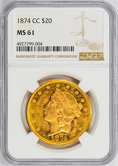 Picture of 1874-CC LIBERTY HEAD $20 MS61