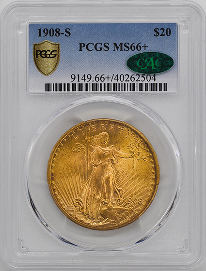Picture of 1908-S ST. GAUDENS $20 MS66+