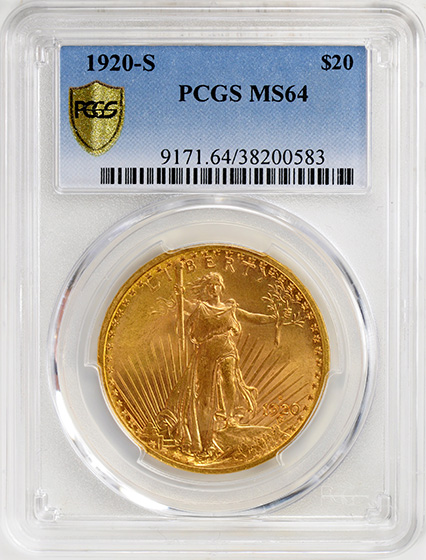Picture of 1920-S ST. GAUDENS $20 MS64