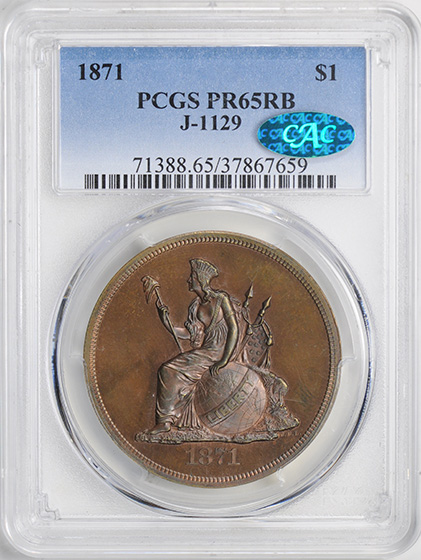 Picture of 1871 S$1 J-1129 PR65 Red Brown