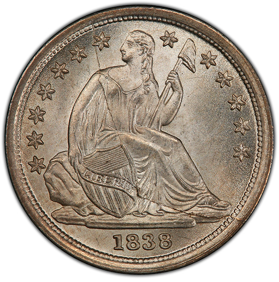 Picture of 1838 LIBERTY SEATED 10C, LARGE STARS MS67+