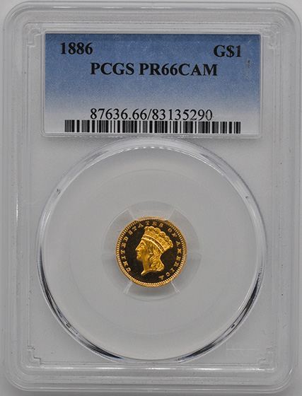Picture of 1886 GOLD G$1, TYPE 3 PR66 Cameo