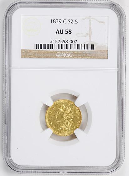 Picture of 1839-C CLASSIC HEAD $2.5 AU58