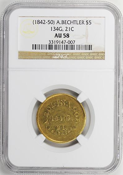 Picture of A BECHTLER $5, 134 GRAINS 21 CARAT AU58