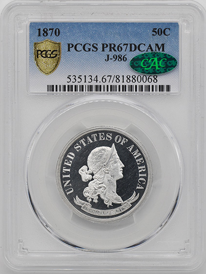 Picture of 1870 STANDARD 50C J-986 PR67 Deep Cameo