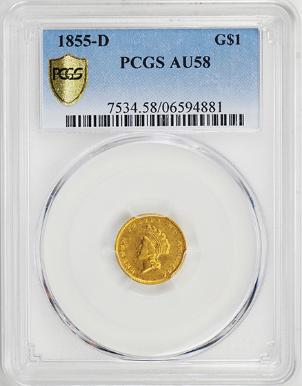 Picture of 1855-D GOLD G$1, TYPE 2 AU58