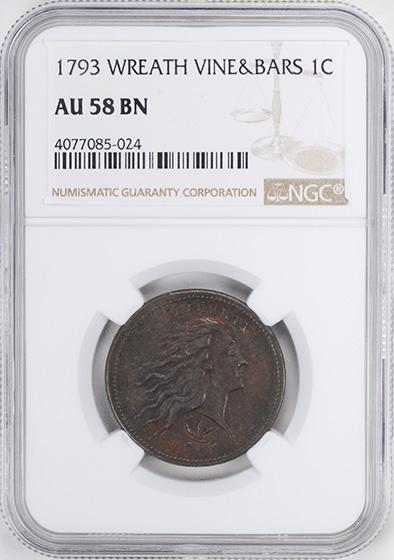 Picture of 1793 WREATH 1C, VINE AND BARS EDGE AU58 Brown