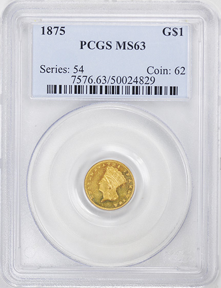 Picture of 1875 GOLD G$1, TYPE 3 MS63