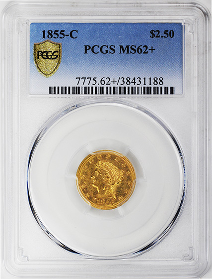 Picture of 1855-C LIBERTY HEAD $2.5 MS62+
