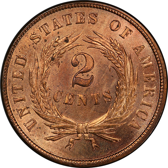 Picture of 1864 2C, SMALL MOTTO MS65+ Red