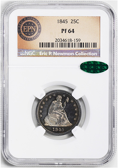 Picture of 1845 LIBERTY SEATED 25C, NO MOTTO PR64