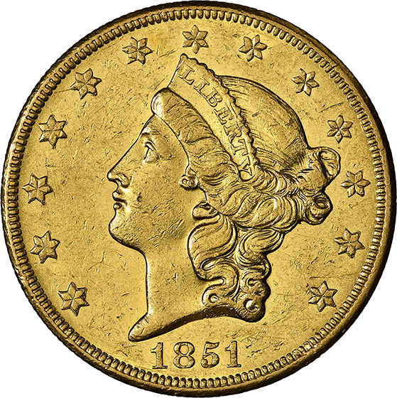 Picture of 1851-O LIBERTY HEAD $20 MS60