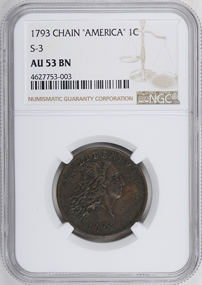Picture of 1793 CHAIN 1C, AMERICA AU53