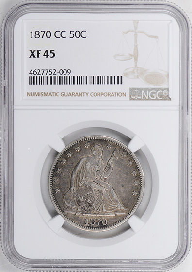 Picture of 1870-CC LIBERTY SEATED 50C, MOTTO XF45