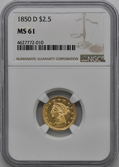 Picture of 1850-D LIBERTY HEAD $2.5 MS61