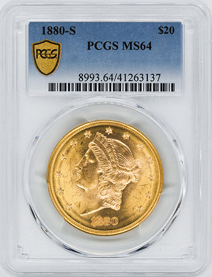 Picture of 1880-S LIBERTY HEAD $20 MS64