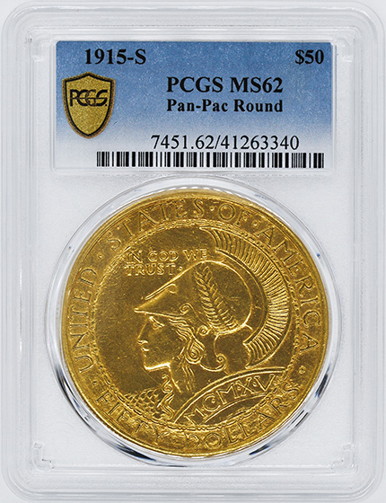 Picture of 1915-S GOLD $50, PAN-PAC ROUND MS62
