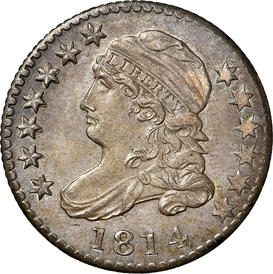 Picture of 1814 CAPPED BUST 10C, LARGE DATE MS65
