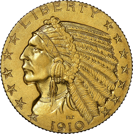 Picture of 1910 INDIAN HEAD $5 PR67