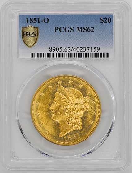Picture of 1851-O LIBERTY HEAD $20 MS62+
