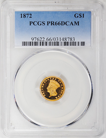 Picture of 1872 GOLD G$1, TYPE 3 PR66 Deep Cameo