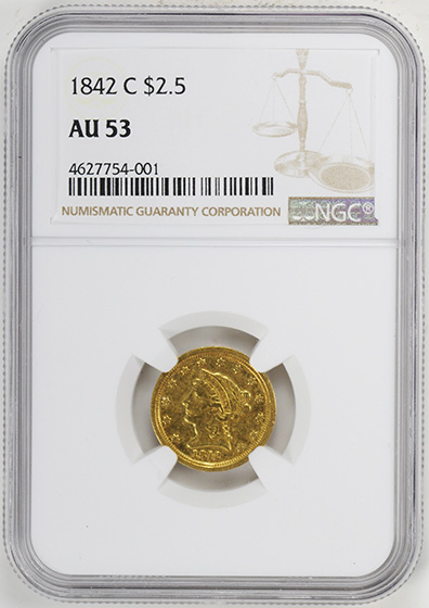 Picture of 1842-C LIBERTY HEAD $2.5 AU53
