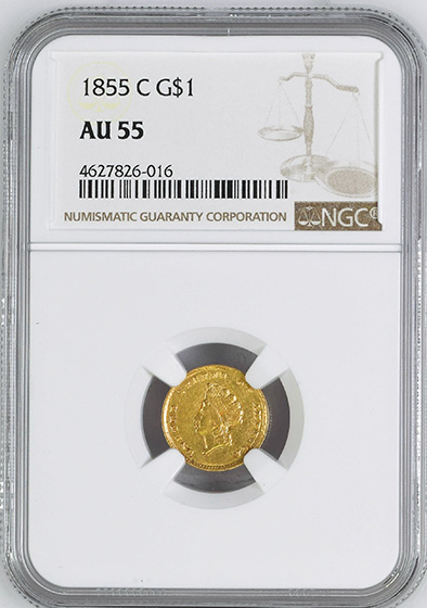 Picture of 1855-C GOLD G$1, TYPE 2 AU55