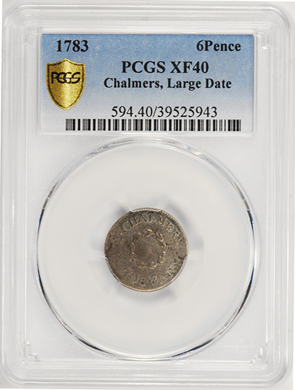 Picture of 1783 CHALMERS, LARGE DATE 6PENCE XF40