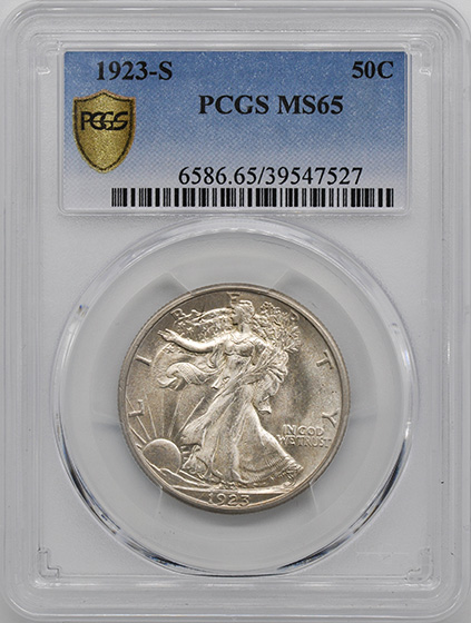 Picture of 1923-S WALKING LIBERTY 50C MS65