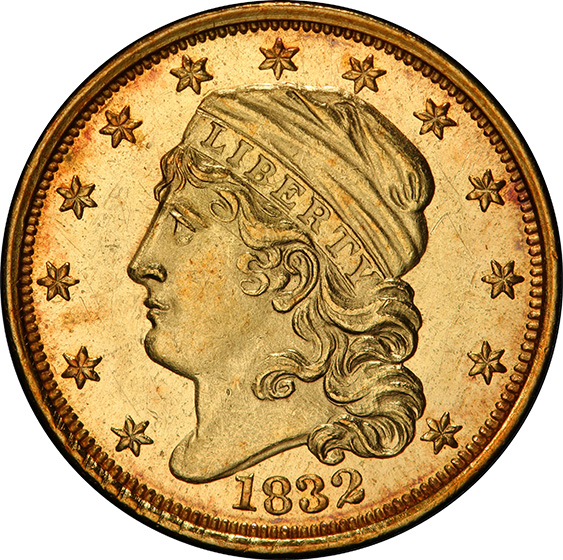 Picture of 1832 CAPPED BUST $2.5 MS62+