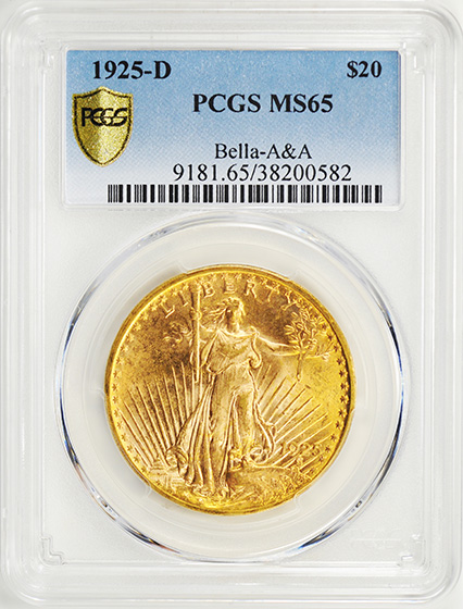 Picture of 1925-D ST. GAUDENS $20 MS65