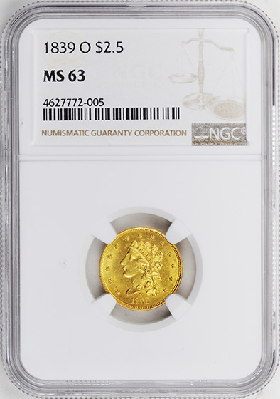 Picture of 1839-O CLASSIC HEAD $2.5 MS63