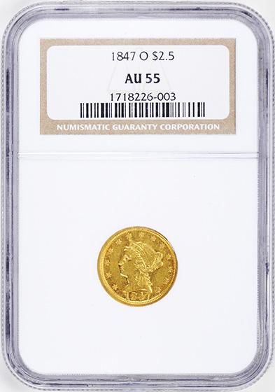 Picture of 1847-O LIBERTY HEAD $2.5 AU55