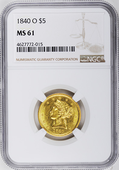 Picture of 1840-O LIBERTY $5 MS61