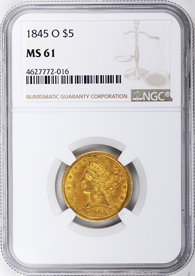 Picture of 1845-O LIBERTY $5 MS61