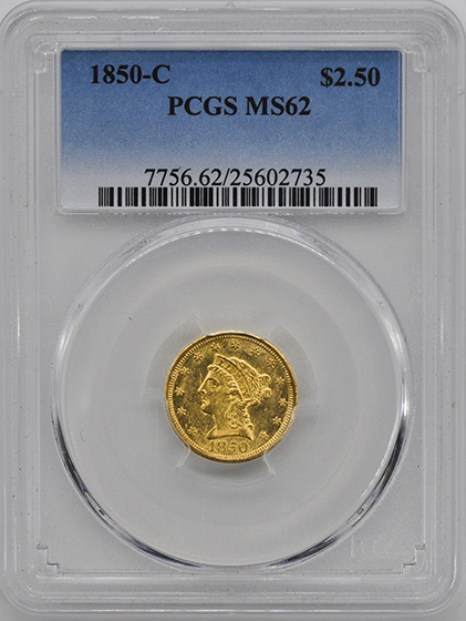 Picture of 1850-C LIBERTY HEAD $2.5 MS62