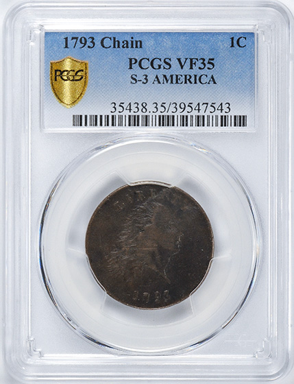 Picture of 1793 CHAIN 1C, AMERICA VF35 Brown